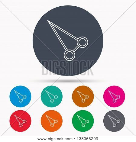 Pean forceps icon. Medical surgery tool sign. Icons in colour circle buttons. Vector