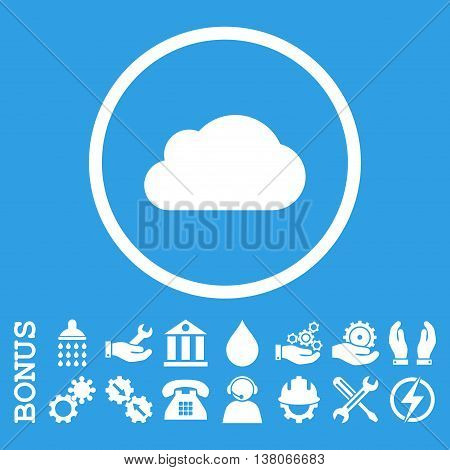 Cloud vector icon. Image style is a flat pictogram symbol inside a circle, white color, blue background. Bonus images are included.