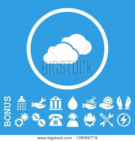 Clouds vector icon. Image style is a flat pictogram symbol inside a circle, white color, blue background. Bonus images are included.