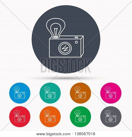 Retro photo camera icon. Photographer equipment sign. Camera with lamp flash. Icons in colour circle buttons. Vector
