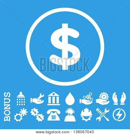 Dollar vector icon. Image style is a flat pictogram symbol inside a circle, white color, blue background. Bonus images are included.