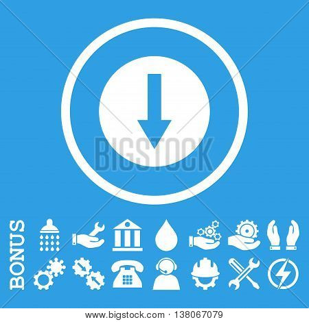 Down Rounded Arrow vector icon. Image style is a flat pictogram symbol inside a circle, white color, blue background. Bonus images are included.