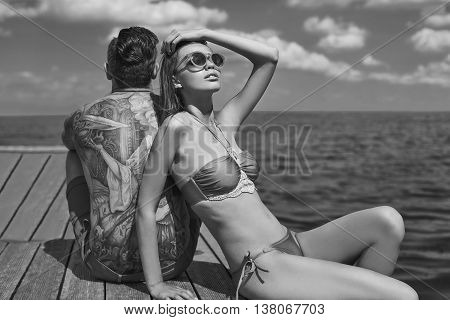 Fashion, Seductive Girl In Knitted Swimsuit Getting A Suntan