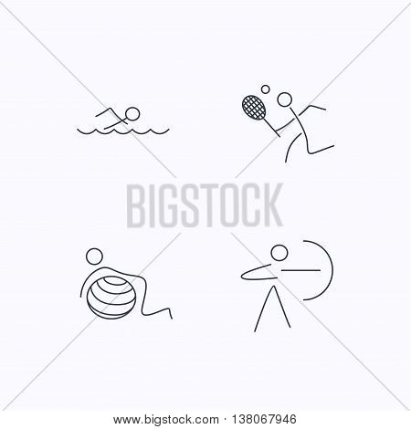 Swimming, tennis and gymnastics icons. Archery linear sign. Flat linear icons on white background. Vector