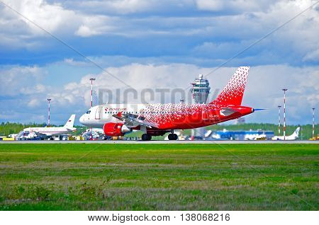 ST PETERSBURG RUSSIA - MAY 11 2016. VQ-BCP Rossiya Airlines Airbus A319 airplane in new livery. Airplane rides on the runway after landing in Pulkovo International airport in St Petersburg Russia