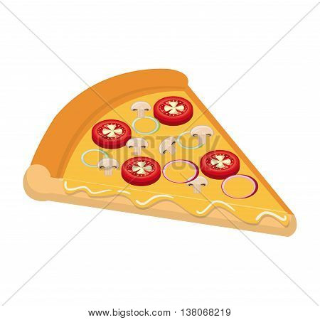 Delicious fast food italian pizza isolated flat icon, vector illustration graphic design.
