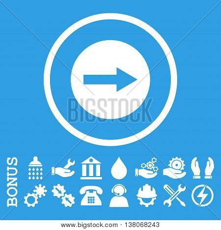 Right Rounded Arrow vector icon. Image style is a flat pictogram symbol inside a circle, white color, blue background. Bonus images are included.