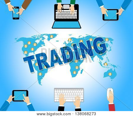 Online Trading Indicates Web Site And Commerce