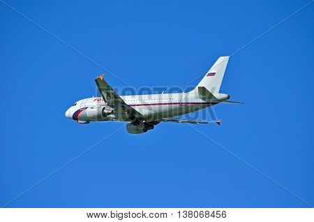ST PETERSBURG RUSSIA - MAY 11 2016. VQ-BAR Rossiya Airlines Airbus A319 airplane closeup view. Airplane is flying in the sky after departure from Pulkovo International airport in St Petersburg