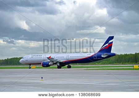 ST PETERSBURG RUSSIA - MAY 11 2016. VP-BDC Aeroflot Airbus A321 airplane closeup Airplane rides on the runway after arrival at Pulkovo International airport in St Petersburg Russia