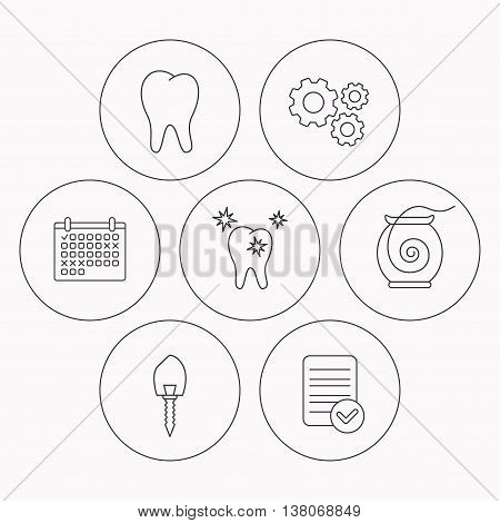 Tooth, healthy teeth and dental implant icons. Dental floss linear sign. Check file, calendar and cogwheel icons. Vector