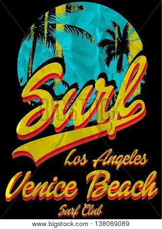 Vintage Tropical graphic with typography design florida beach surf club