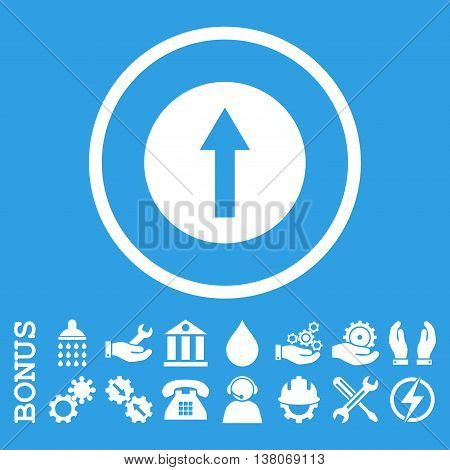 Up Rounded Arrow vector icon. Image style is a flat pictogram symbol inside a circle, white color, blue background. Bonus images are included.