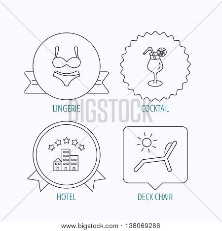 Lingerie, deck chair and cocktail icons. Hotel linear sign. Award medal, star label and speech bubble designs. Vector