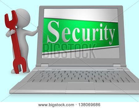 Security Secure Represents Protect Encrypt And Protected 3D Rendering
