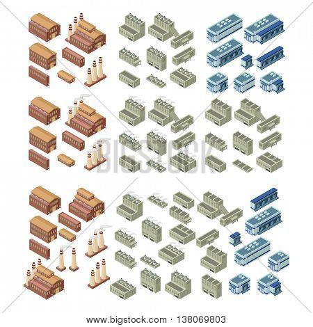 3d buildings vector set.