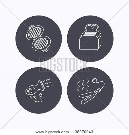 Curling iron, hair-dryer and toaster icons. Waffle-iron linear sign. Flat icons in circle buttons on white background. Vector