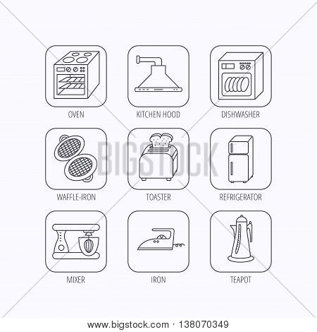 Dishwasher, refrigerator fridge and blender icons. Kitchen hood, mixer and toaster linear signs. Oven, teapot and waffle-iron icons. Flat linear icons in squares on white background. Vector