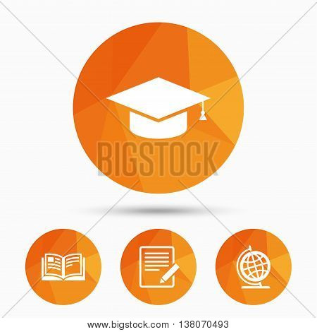 Pencil with document and open book icons. Graduation cap and geography globe symbols. Learn signs. Triangular low poly buttons with shadow. Vector