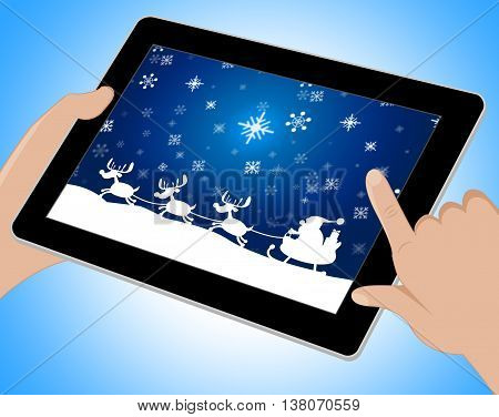 Reindeer Santa Shows Winter Snow And Congratulation Tablet