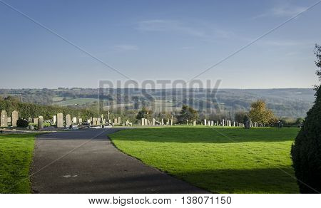 Goudhurst graveyard with a view of the Weald of Kent countryside