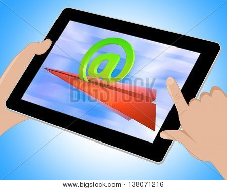 At Sign Aeroplane Shows E-mail Sending Post Tablet