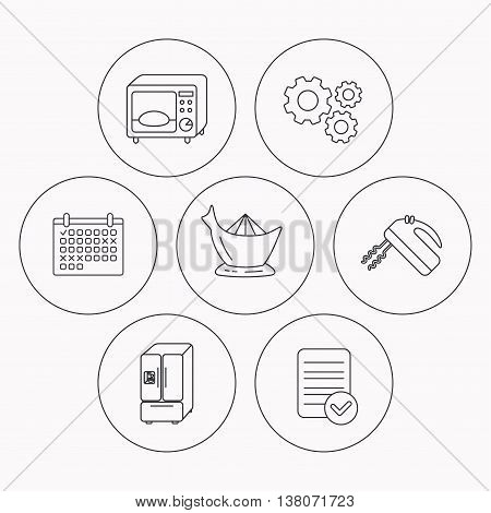Microwave oven, American style fridge and blender icons. Juicer linear sign. Check file, calendar and cogwheel icons. Vector