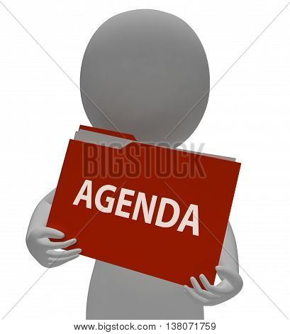 Agenda Folder Means Administration Paperwork And Arranging 3D Rendering