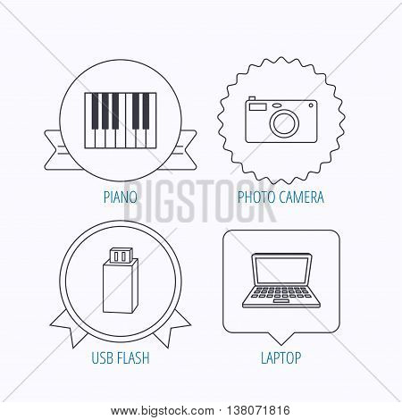 Photo camera, USB flash and notebook laptop icons. Piano linear sign. Award medal, star label and speech bubble designs. Vector