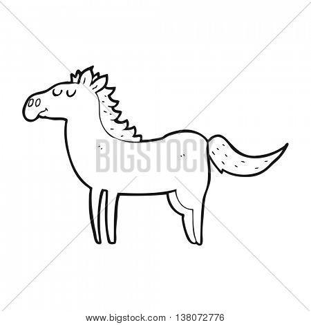 freehand drawn black and white cartoon horse