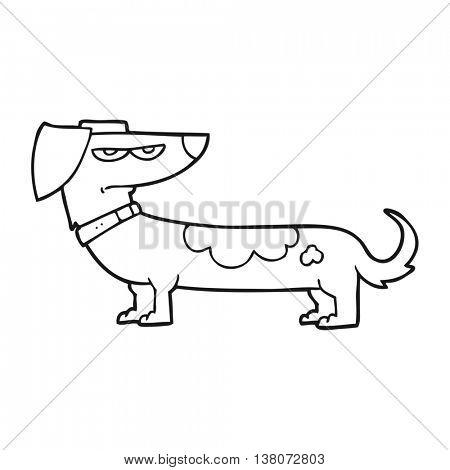 freehand drawn black and white cartoon annoyed dog