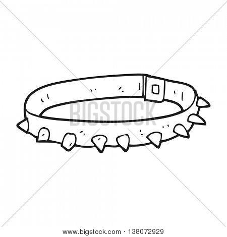 freehand drawn black and white cartoon dog collar