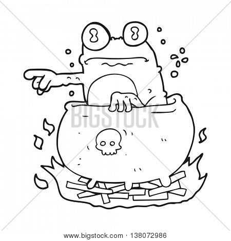 freehand drawn black and white cartoon halloween toad in cauldron