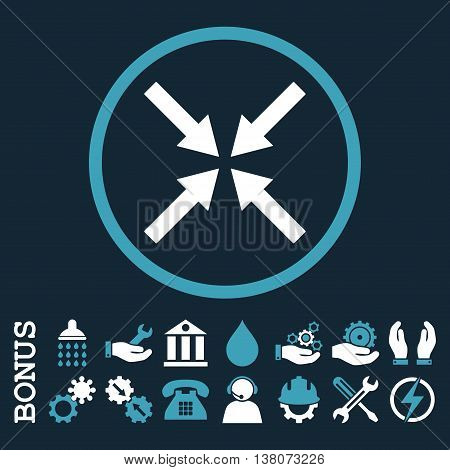 Center Arrows vector bicolor icon. Image style is a flat pictogram symbol inside a circle, blue and white colors, dark blue background. Bonus images are included.