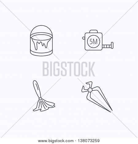 Tape measure, bucket of paint and paint brush icons. Nippers linear sign. Flat linear icons on white background. Vector