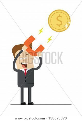 Happy businessman with a magnet to attract money. Isolated illustration on white background . Flat image.