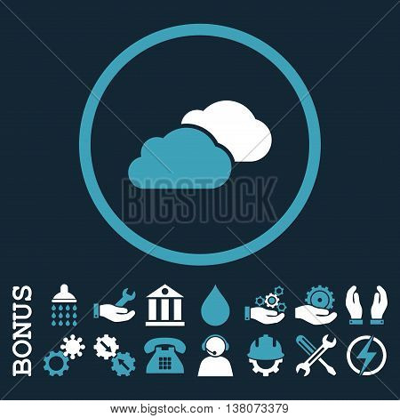 Clouds vector bicolor icon. Image style is a flat pictogram symbol inside a circle, blue and white colors, dark blue background. Bonus images are included.