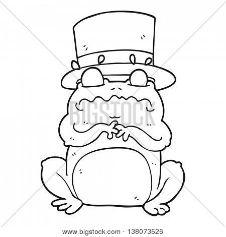 freehand drawn black and white cartoon wealthy toad