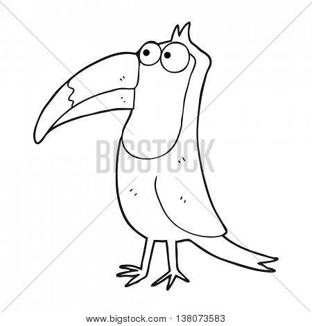 freehand drawn black and white cartoon toucan