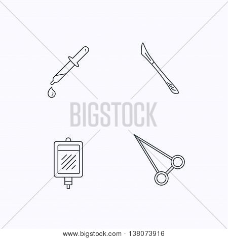 Blood donation, scalpel and pipette icons. Peans forceps linear sign. Flat linear icons on white background. Vector