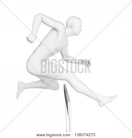 3d rendered illustration of a hurdler