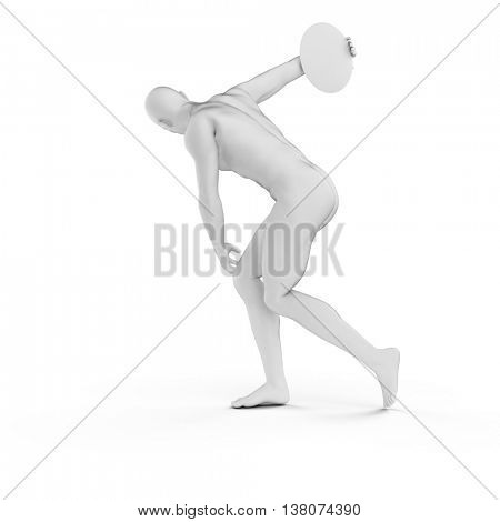 3d rendered illustration of a discus thrower