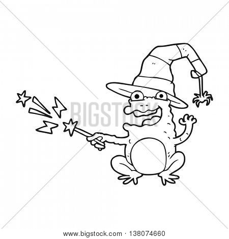 freehand drawn black and white cartoon toad casting spell