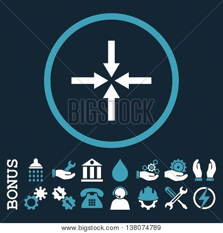 Impact Arrows vector bicolor icon. Image style is a flat pictogram symbol inside a circle, blue and white colors, dark blue background. Bonus images are included.