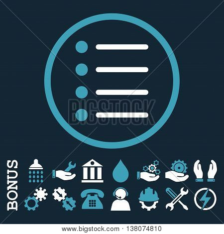 Items vector bicolor icon. Image style is a flat pictogram symbol inside a circle, blue and white colors, dark blue background. Bonus images are included.