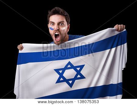 Fan holding the flag of Israel