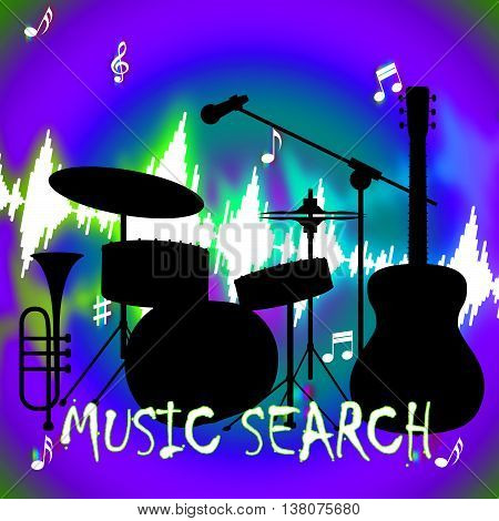 Music Search Indicates Gathering Data And Acoustic