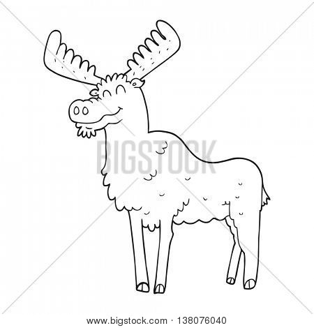 freehand drawn black and white cartoon moose
