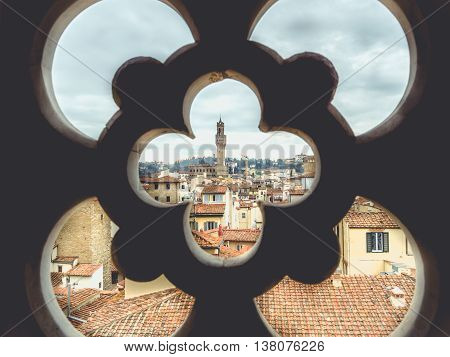 Italy Florence cityscape with Palazzo Vecchio in cloudy day