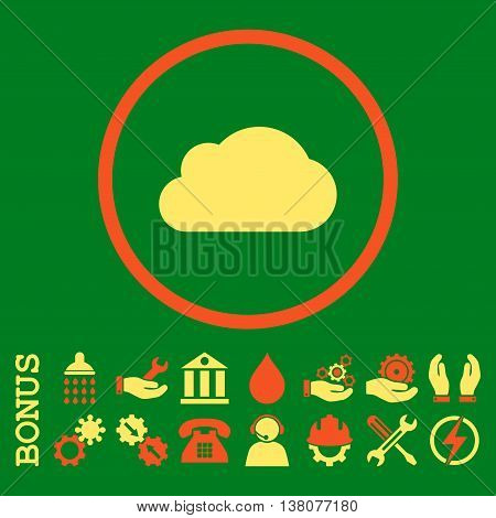 Cloud vector bicolor icon. Image style is a flat pictogram symbol inside a circle, orange and yellow colors, green background. Bonus images are included.